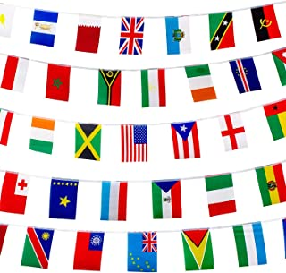 FAREVER International Flags Banner, 100 Countries String Flags World Flags Banner for Party, Grand Opening, Sports Events, International Festival, Bar, Decorations
