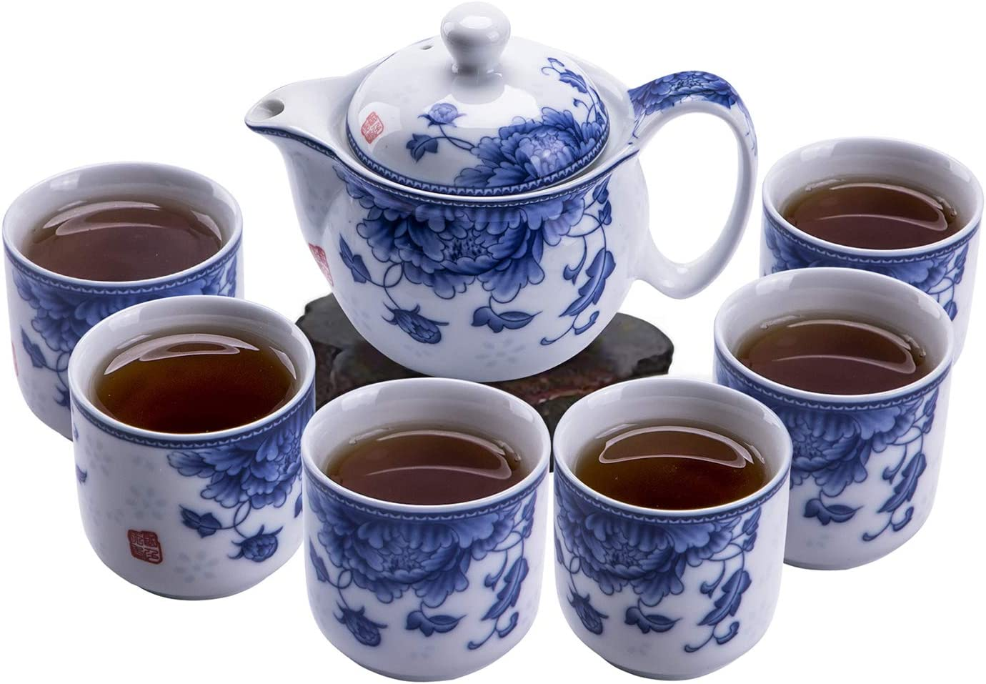 ufengke 7 Piece Chinese Super special price Kung Fu Animer and price revision White Set and Tea Porcelain Blue