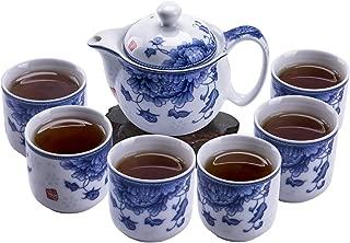 ufengke 7 Piece Chinese Kung Fu Tea Set,Blue and White Porcelain Tea Set for Kungfu,Tea Service
