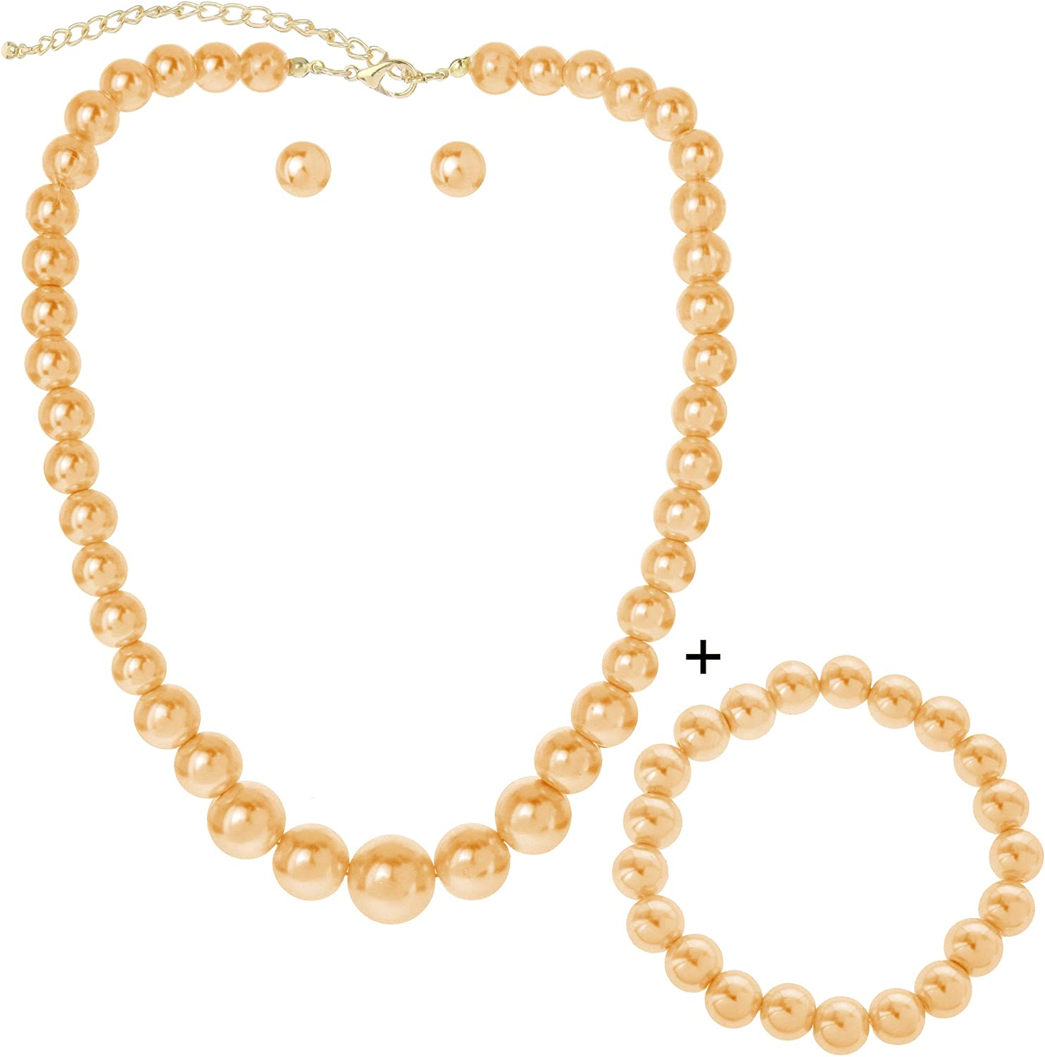 SP Sophia Collection Simulated Multi Sized Pearl Drop Choker Necklace Earring Bracelet Jewelry Set