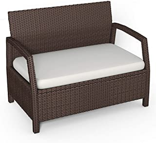 Tangkula Bench Couch Chair Patio Furniture Sofas, Brown