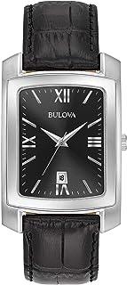 Men's Stainless Steel Analog-Quartz Watch with Leather-Crocodile Strap, Black, 20 (Model: 96B269)