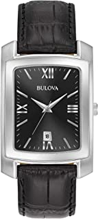 Bulova Men's Classic Crocodile Grain Leather Strap Rectangular Watch