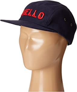 Cotton Twill 5 Panel Hat with Embroidered Front Hello and Goodbye On The Back (Little Kids/Big Kids)