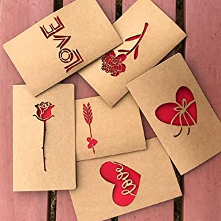 3D Greeting Card Vintage Kraft Paper Laser Lettering Hollow Love Greeting Card Thanksgiving Christmas Valentine's Day Gift (10Pcs) 1017Cm