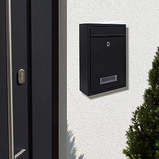 HelloCreate 郵便箱 メイルボックス 家庭 アイアン 壁掛け メールボックス レターボックス 2つのキー 付き(黒)