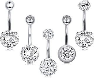 5-16pcs 14G Stainless Steel Belly Button Rings for Women Crystal CZ Ball Screw Navel Bars