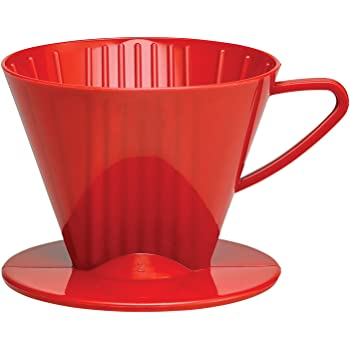 HIC Coffee Filter Cone, Red, Number 2-Size Filter, Brews 2 to 6-Cups