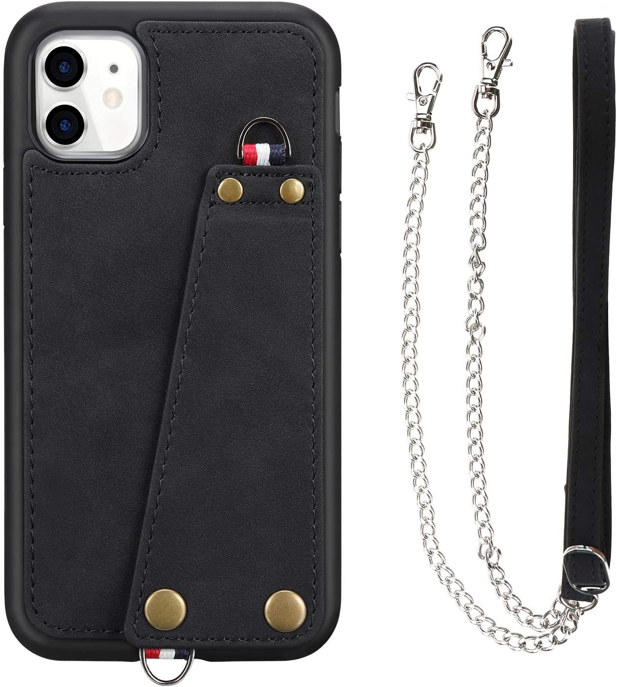 JISON21 iPhone 11 case with Lanyard,iPhone 11 Case Crossbody Chain with Credit Card Holder Slot Adjustable Detachable Strap Leather Case Cover for Apple iPhone 11 6.1 inch 2019 (Black)