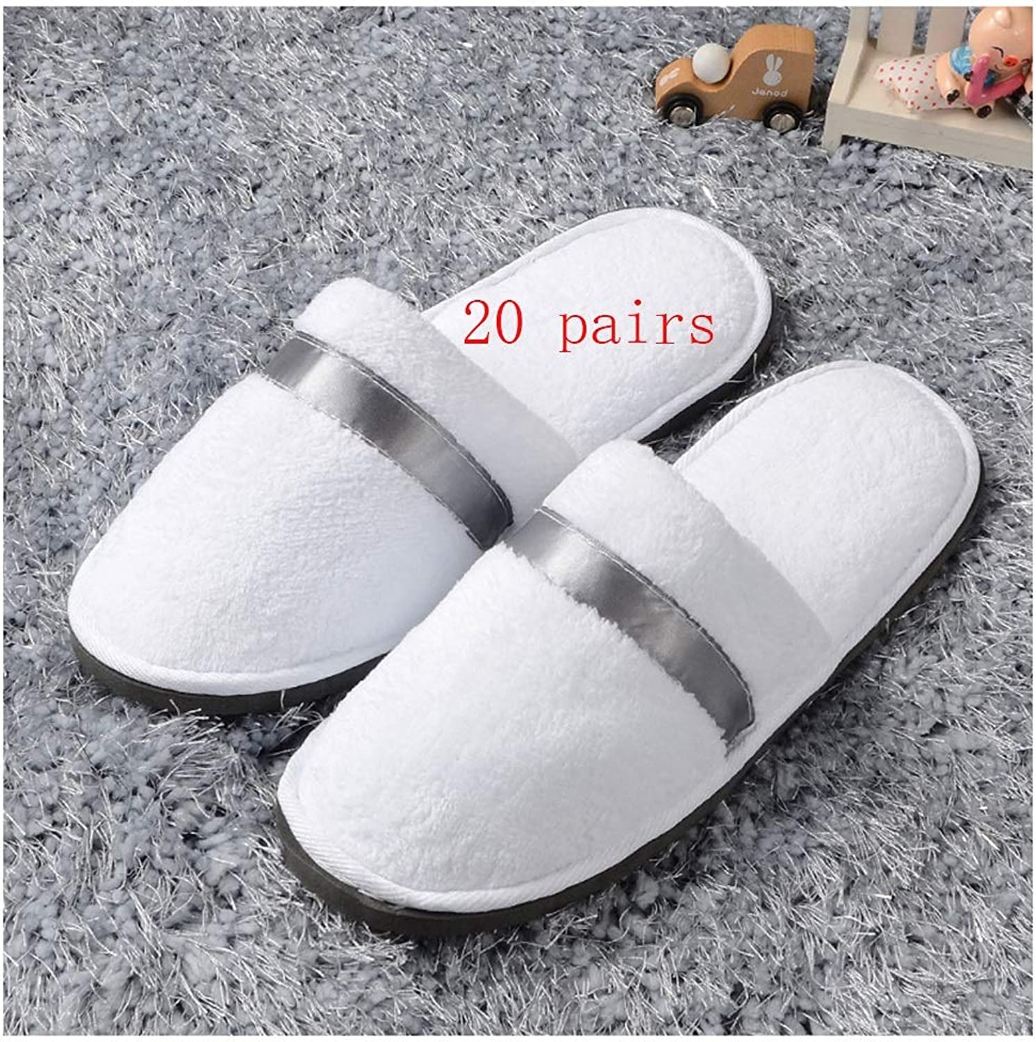 Slippers Women and Men Disposable Portable Spa Slippers Non-Disposable Women's Slippers 20 Pairs of Ladies Slippers Male Hotel Pedicure Slippers Home Hospitality Slippers Thick 4mm Spa-