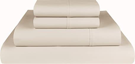 Threadmill Home Linen Bedding 800 Thread Count 100% ELS Cotton Solid Sateen Sheet Set, Luxury Bedding, 4 Piece Set, Bed Sheets, Smooth Sateen Weave, King, White Queen Beige THM-800-SLD-Beige-Q