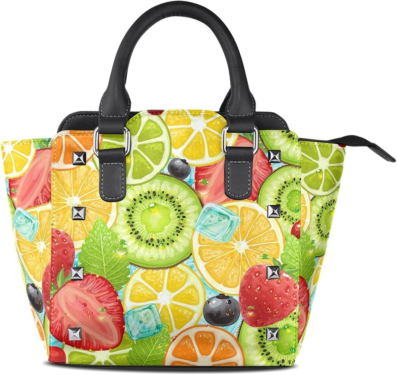 My Little Nest Women's Top Handle Satchel Handbag Summer Fruit Ladies PU Leather Shoulder Bag Crossbody Bag
