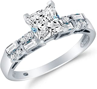 Solid 14k White Gold CZ Cubic Zirconia Engagement Ring - Princess Cut Solitaire with Round & Baguette Side Stones (1.75cttw, 1.0ct. Center)