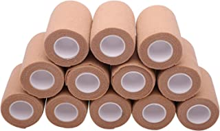 12 Rolls Self Adhesive Bandage Wrap, 3 inches X 5 Yards, Cohesive Tape Vet Wrap for First Aid, Sports, Wrist and Ankle (Beige, 3 inch)