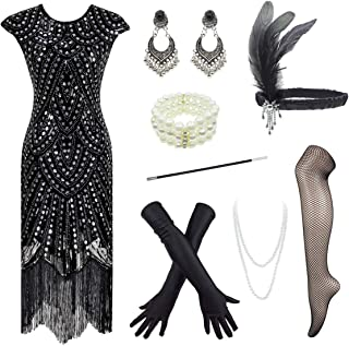 YENMILL 1920s Plus Flapper Gatsby Sequin Scalloped Cocktail Dress w/ 20s Accessories Set