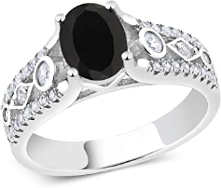 Sterling Silver Black Onyx Women's Engagement Ring 1.81 cttw Gemstone Birthstone (Available 5,6,7,8,9)