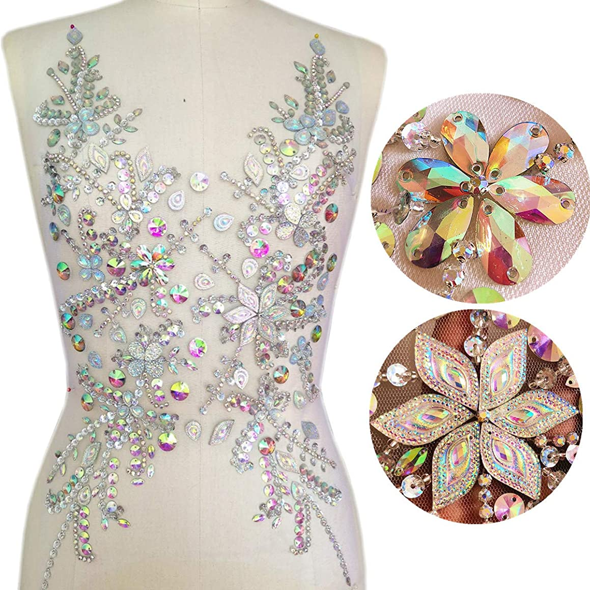 12x21 Inch Sew on AB Sequin Crystal Rhinestones Beaded Clothes Appliques and Patches for Sewing Clothes Wedding Bridal Dress Decorative (AB)