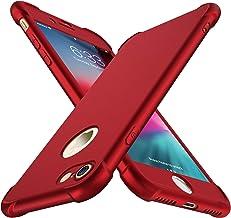 Funda iPhone 8, Funda iPhone 7, con [ 2 x Protector de Pantalla de Vidrio Templado ] ORETech 360 Carcasa iPhone 7/8 Silicona Ligera Delgado PC + TPU Bumper Rubber Caso para iPhone 8 / 7 4.7''- Rojo