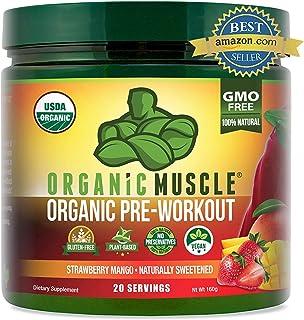 ORGANIC MUSCLE #1 Rated Organic Pre Workout Powder–Natural Vegan Keto Pre-workout & Organic Energy Suppleme...