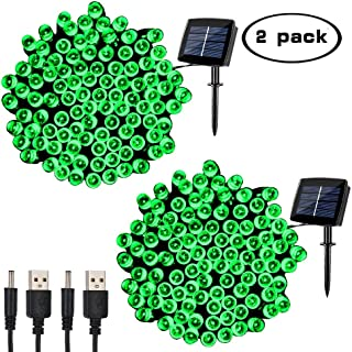 woohaha Solar Fairy String Lights Outdoor Waterproof, 2 Pack 72ft 200LED Updated Version 6hrs Timer Function with USB Cable Solar Powered String Lights for Christmas Patio Garden Party(Green)