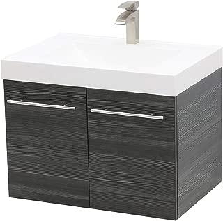 WindBay Wall Mount Floating Bathroom Vanity Sink Set. Dark Grey Vanity, White Integrated Sink Countertop - 35.25