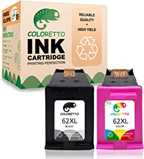 Coloretto Re-Manufactured Printer Ink Cartridge Replacement for HP 62 62XL 62 XL,Ink Level Display for Envy 5540, 5542,5640, 5642,Officejet 200c 250 258 5742 5743 5744(1 Black+1 Tri-Color)