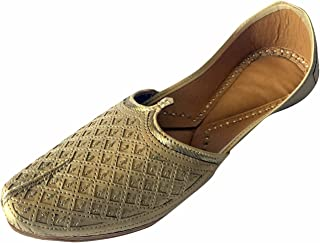 Step n Style Men's Exclusive Gold Punjabi Jutti with Golden Zari on Upper