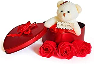 Piqant Best Love Gift for Girls Heart Shape and Red Rose Soap Flower Petals with Box & Soft Teddy Bear
