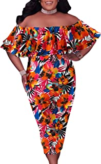 GOSOPIN Women's Off Shoulder Ruffle Bodycon Fit Floral Print Midi Dresses