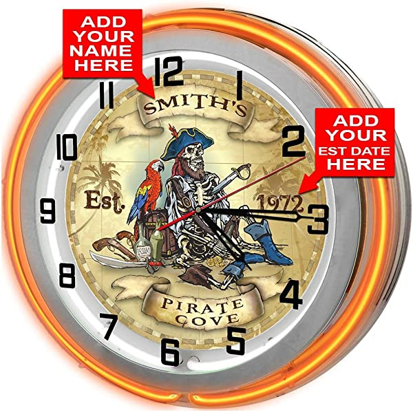 Redeye Laserworks Personalized Pirates Cove 18 Orange Double Neon Garage Clock From
