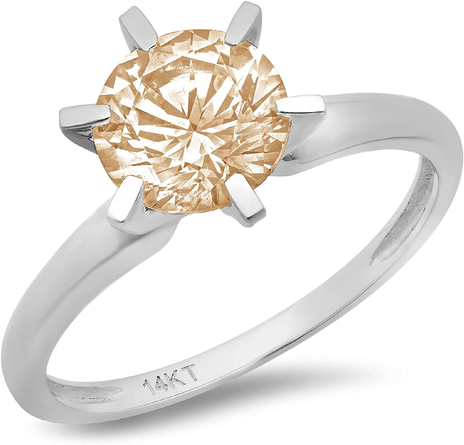 2.4ct Round Cut Solitaire Designer Genuine Natural Morganite Excellent VVS1 6-prong Engagement Wedding Bridal Promise Anniversary Ring Solid 14k White Gold for Women