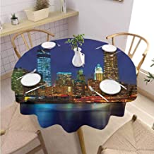 DILITECK Urban Picnic Round Tablecloth Manhattan Sunset Skyline Famous New York Cityscape High Rise Buildings Skyscrapers Soft and Smooth Surface Diameter 63
