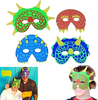 Dazzling Toys Dinosaur Mask | Party Costume Foam Mask | Birthday Party Supplies | 12 Pieces | Fun Masquerade Idea