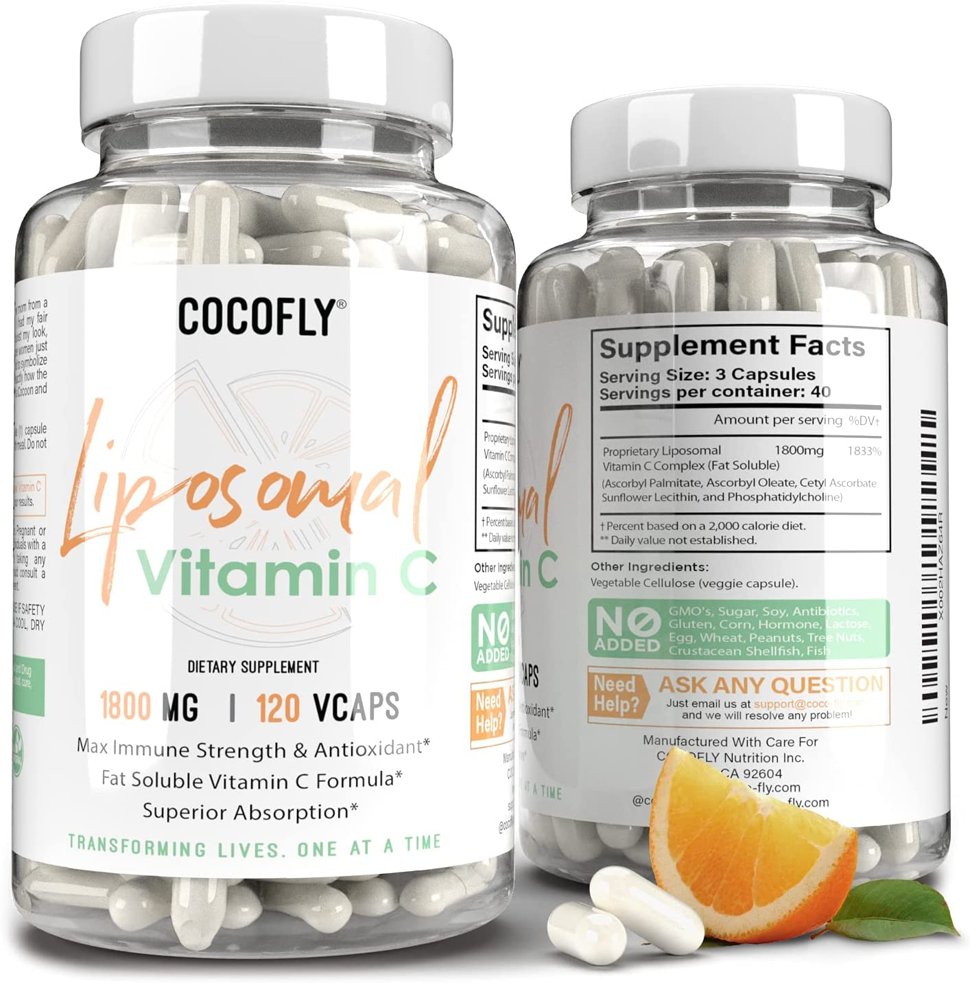 Premium Liposomal Vitamin C 120 Immune - NEW before selling ☆ Award-winning store 1800mg System VCAPS