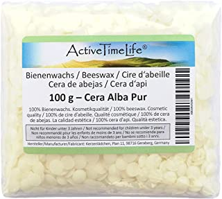 ActiveTimeLife Bienenwachs Pastillen weiß 100 g | Premium | 100% Natur perfekt für Kosmetik Kerzen Cremes Salben Seifen Wachstücher