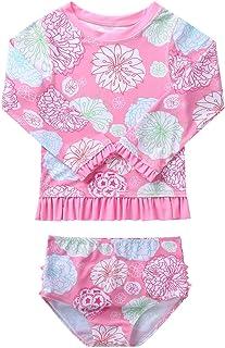 Nimiya Little Girls Two Piece Rash Guard Swimsuit Set Long Sleeve Print Bathing Suit UPF 50+ Beach Swimwear