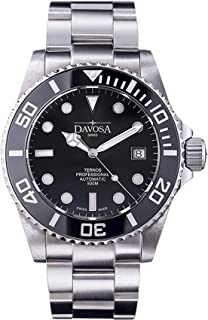Davosa Swiss Made Men Watch, Automatic Analog Ternos Professional, Stainless Steel Wrist Band, Premium Ceramic Bezel