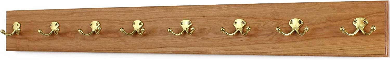 PegandRail Cherry Coat Rack with Style Free shipping New Double Solid Brass Hooks Purchase