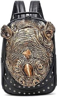 Backpack Three-Dimensional Embossed Waterproof Pu Backpack Personality Schoolbag 1,Gold