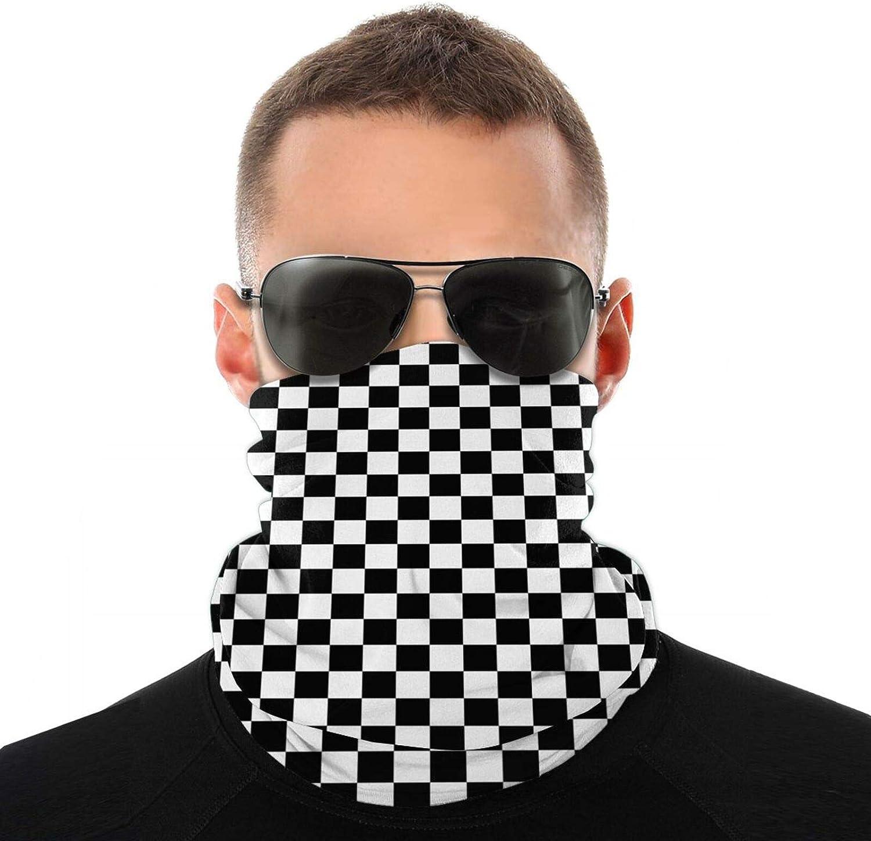 Men Women Black And White Checkered Neck Gaiter Face Mask Reusable, Cloth Face Masks Washable Bandana Face Mask, Sun Dust Protection Cover Balaclava Scarf Shield