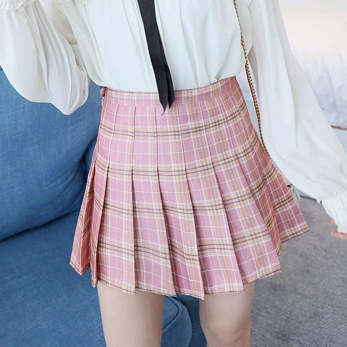 Greatangle Moda Primavera Verano para Mujer Falda de Cintura Alta Slim Comfort Lattice Plisado Skater Tennis School Falda Mini Vestido