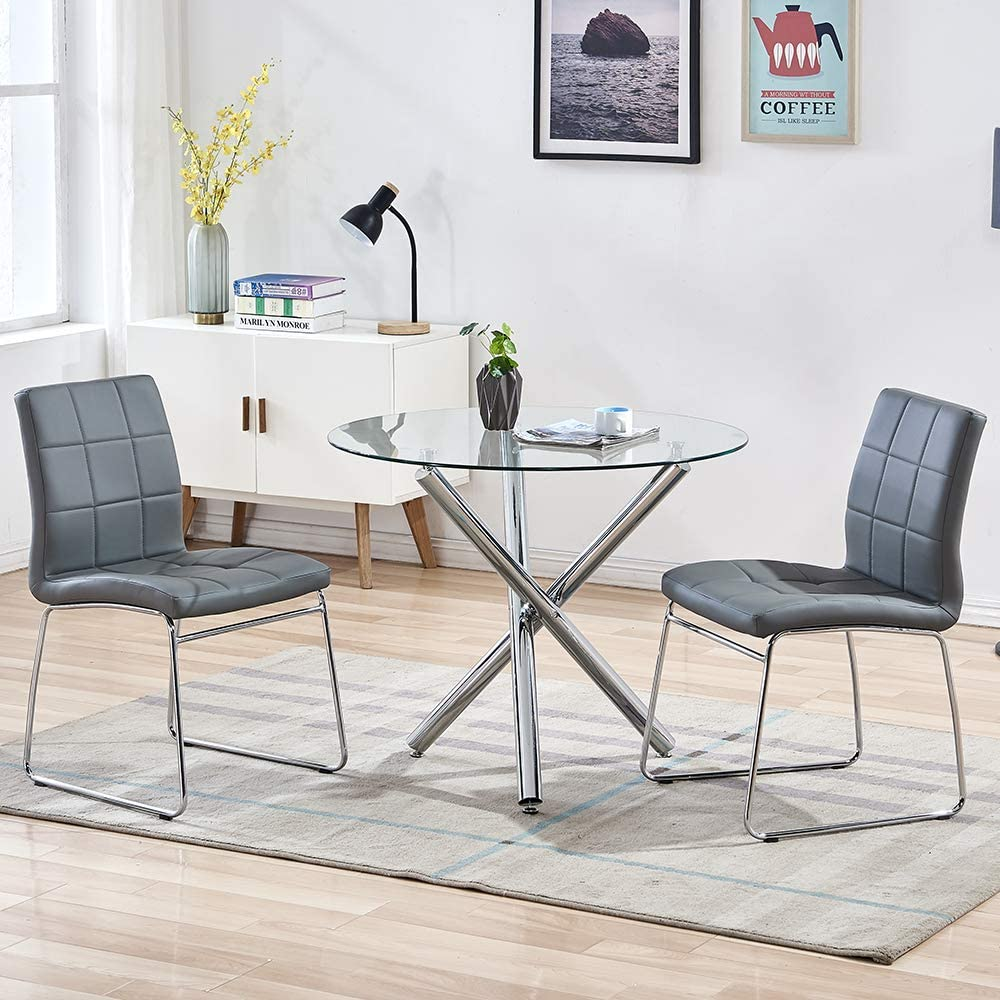 SICOTAS 9 Piece Round Dining Table Set, Modern Kitchen Table and Chairs for  9 Person,Dining Room Table Set with Clear Tempered Glass Top, Dining Set ...