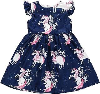 Toddler Baby Girls Tunic Dress Swing Casual Sundress Princess Dress(90, Navy Blue)
