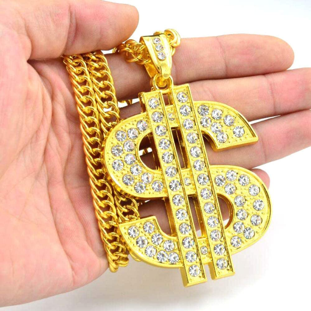 100 Hundred Dollar Bill Bling Dollar Sign Tag Pendant Chain Necklace for Mens Hip Hop Gold Plated Stainless Steel Rapper Punk Style Personalized Men's Necklaces