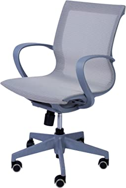 KARMAS PRODUCT Adjustable Mesh Office Computer Chair with Ergonomic Mid Back Design Swivel Desk Task Chair with Armrest for Working Meeting (Gray)