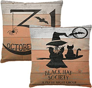 7COLORROOM 2Pack October 31 Pillow Covers Halloween Party Spider/Bat/Witch/Cat Pattern Cushion Cover Vintage Halloween Far...