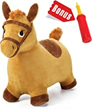 iPlay, iLearn Yellow Hopping Horse, Outdoors Ride On Bouncy Animal Play Toys, Inflatable Hopper Plush Covered with Pump, Activities Gift for 3, 4, 5 Year Old Kids Toddlers Boys Girls