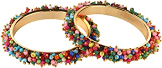 Efulgenz Fashion Jewelry Indian Bollywood 14 K Gold Plated Cystal Beaded Multicolor Bracelets Bangle Set (2 Pieces) For Women