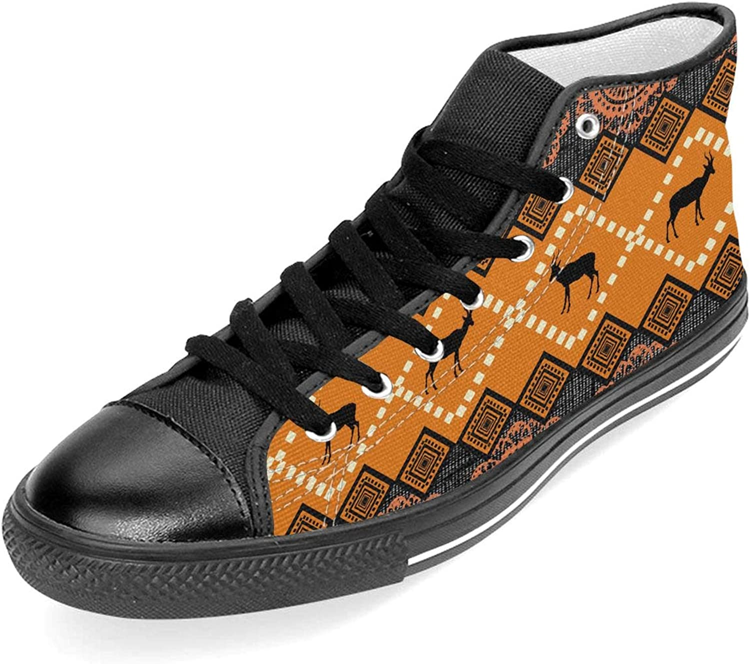 TARDIGA Modern African Pattern Unisex High Top Classic Canvas shoes Rubber Sole Lace Up Trainer shoes