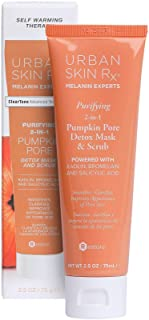 Urban Skin Rx Purifying 2-in-1 Pumpkin Pore Detox Mask & Scrub   Self-Warming Formula Detoxifies and Exfoliates to Deeply Cleanse and Rejuvenate Skin, Formulated with Kaolin and Jojoba Beads   2.5 Oz